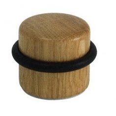 Batente de chão redondo madeira envernizada